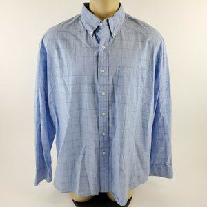 Izod Blue Plaid Long Sleeve Button Down Collared